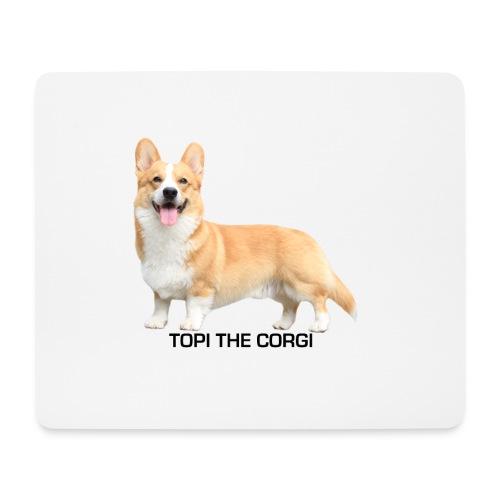 Topi the Corgi - Black text - Mouse Pad (horizontal)
