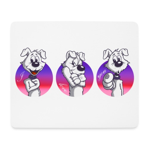 "Comic Hund in Gebärdensprache ""I love you"" - Mousepad (Querformat)"