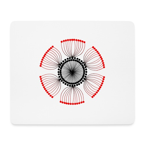 Red Poppy Seeds Mandala - Mouse Pad (horizontal)