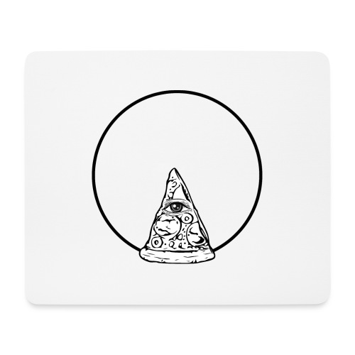 All sehendes Auge Pizza (schwarzer Druck) - Mousepad (Querformat)
