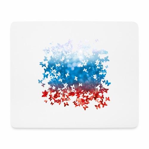 06 Russland Flagge Fahne Russia Schmetterlinge - Mousepad (Querformat)