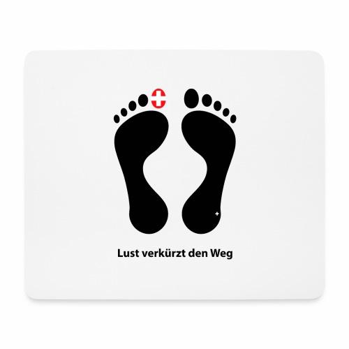 Barfuss Schweiz Logo Lust verkürzt den Weg - Mousepad (Querformat)