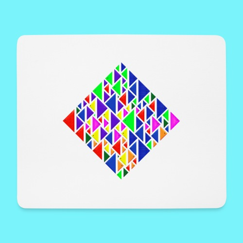 A square school of triangular coloured fish - Mouse Pad (horizontal)