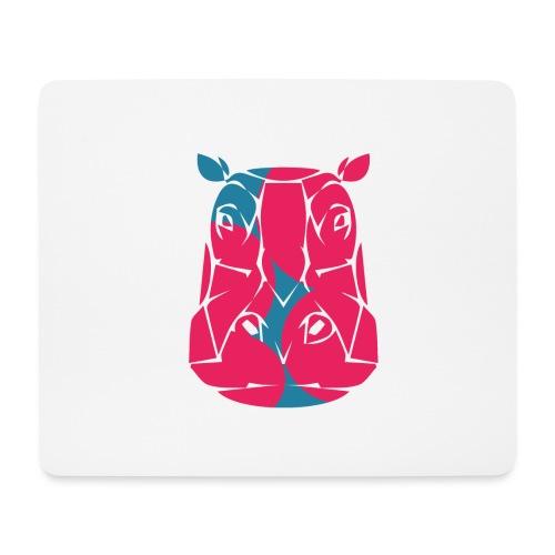 Hippo in het roze en blauw - Muismatje (landscape)