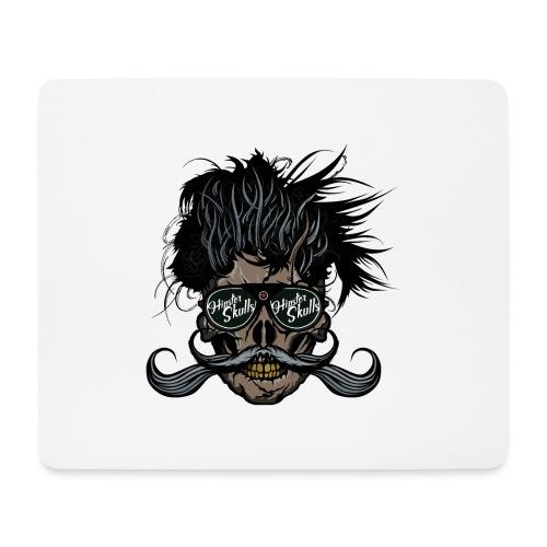 hipster skull tete de mort crane barbu moustache - Tapis de souris (format paysage)