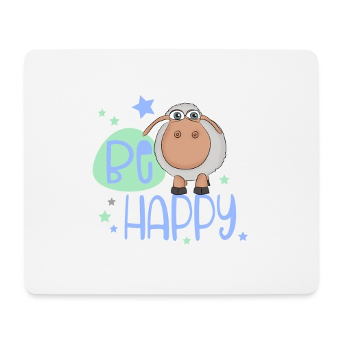 Be happy Schaf - Glückliches Schaf - Glücksschaf - Mousepad (Querformat)