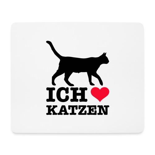 Ich liebe Katzen mit Katzen-Silhouette - Mousepad (Querformat)