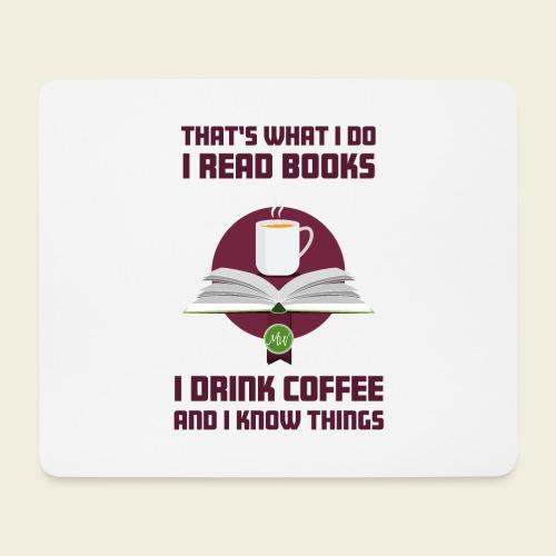 Buch und Kaffee, dunkel - Mousepad (Querformat)