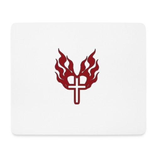 Cross and flaming hearts 02 - Mouse Pad (horizontal)