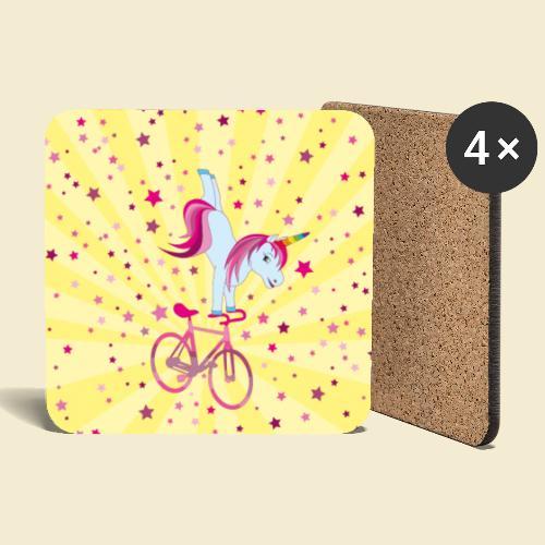 Kunstrad | Einhorn Handstand Handyhülle - Untersetzer (4er-Set)