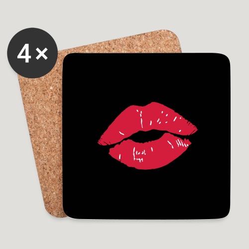Kussmund - Lippenstift rote Lippen Gesichtsmaske - Untersetzer (4er-Set)