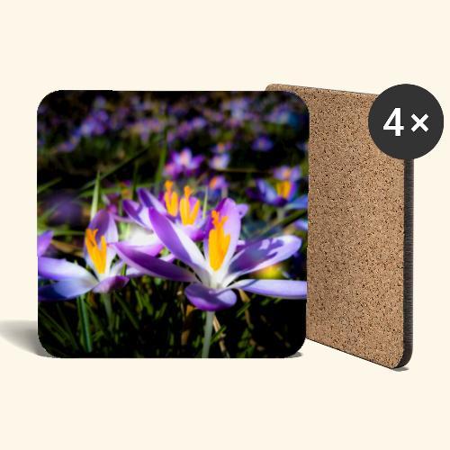 Blumenwiese, lila blühende Blumen, Blüten, floral - Untersetzer (4er-Set)