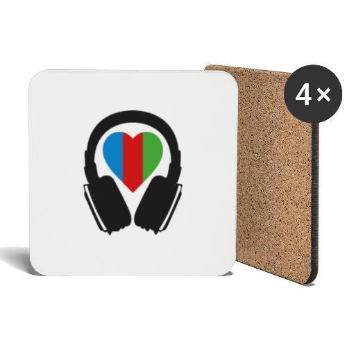 Silent Disco Herz RGB - Untersetzer (4er-Set)