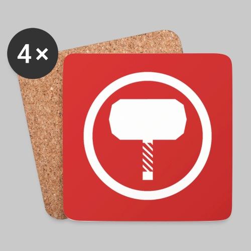 Logo blanc sur rouge - Dessous de verre (lot de 4)
