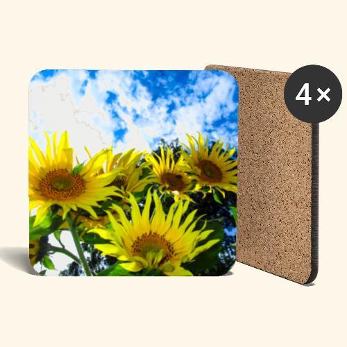 Sonnenblumen, blauer Himmel, Sonnenblume, Wolken - Untersetzer (4er-Set)