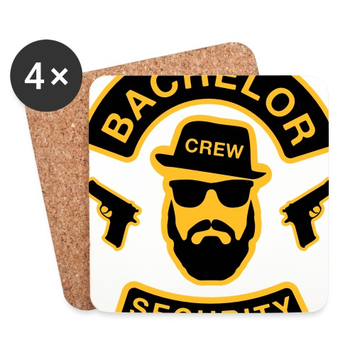 Bachelor Security - JGA T-Shirt - Bräutigam Shirt - Untersetzer (4er-Set)