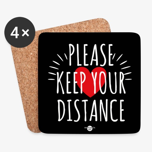 05 Please keep your Distance Heart black - Untersetzer (4er-Set)