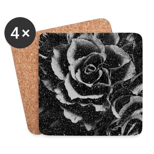 Vintage rose black and white floral mask - Coasters (set of 4)