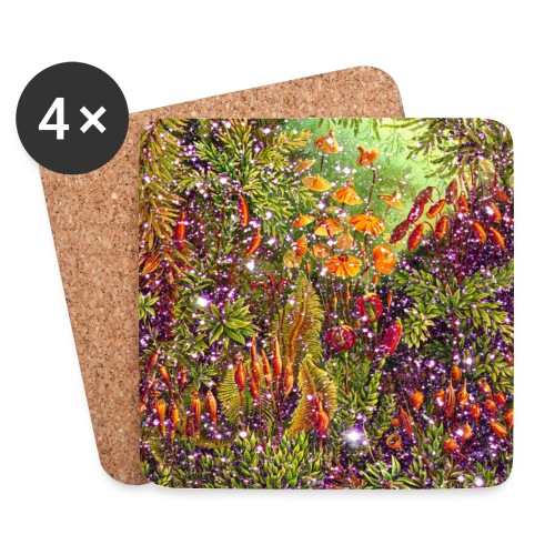 Magic forest flowers meadow fairy tale Fantasia fairy forest - Coasters (set of 4)