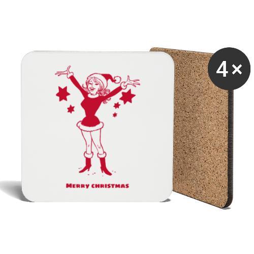 Kerstvrouw vrolijk kerstfeest - Onderzetters (4 stuks)