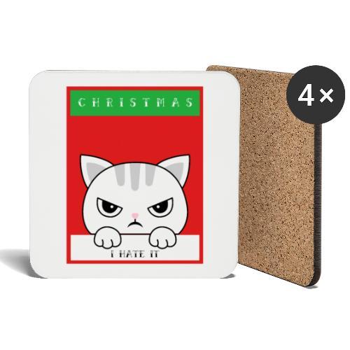 Ik haat kerstmis boze kat - Onderzetters (4 stuks)