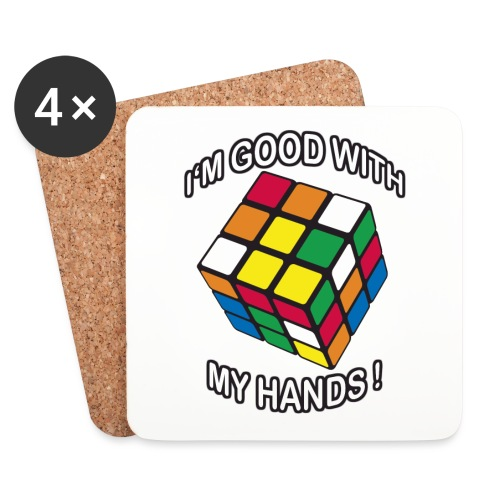 Rubik's Cube Quotes I'm Good With My Hands - Coasters (set of 4)