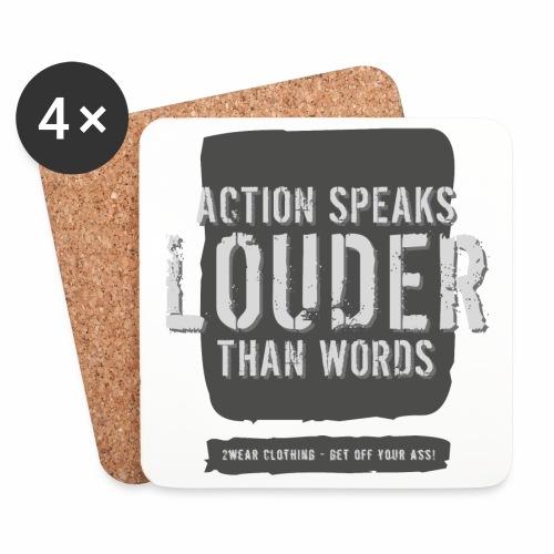 Action Speaks... DG √ - Glasbrikker (sæt med 4 stk.)