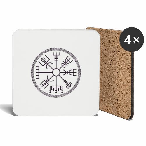 Vegvisir wayfinder viking compass - Lasinalustat (4 kpl:n setti)