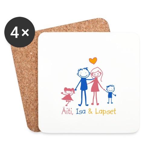 Äiti Isa Lapset - Lasinalustat (4 kpl:n setti)