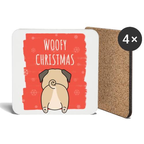 Grappige Kerstmis hond Woofy Christmas origineel - Onderzetters (4 stuks)