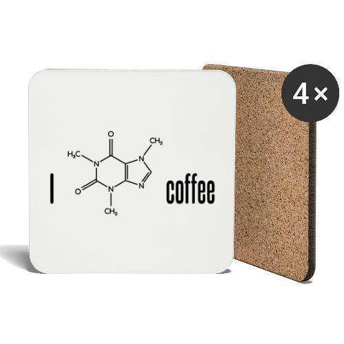 Ich liebe Kaffee - mit Koffein-Molekül - Untersetzer (4er-Set)