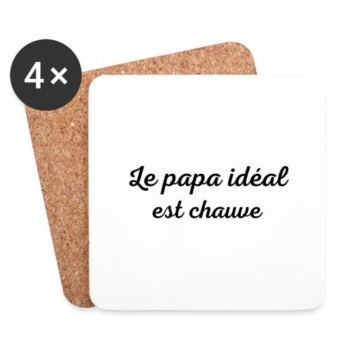 t-shirt fete des pères le papa idéal est chauve - Dessous de verre (lot de 4)