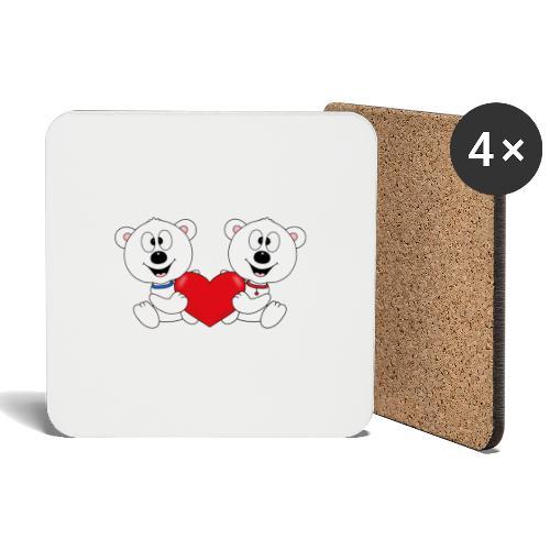 Lustige Eisbären - Herz - Liebe - Love - Fun - Untersetzer (4er-Set)