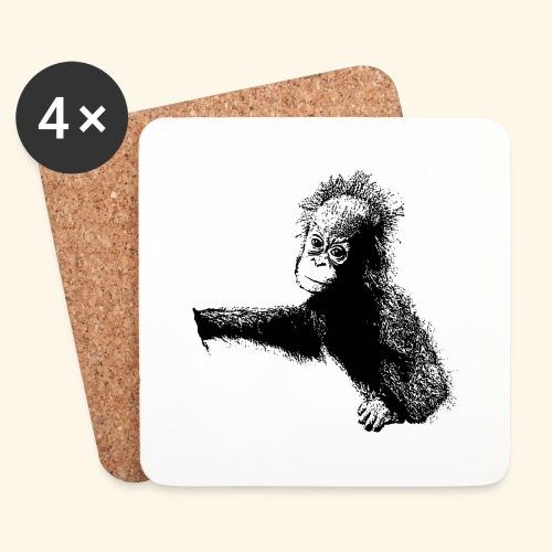 Orang-Utan-Baby schwarz - Untersetzer (4er-Set)