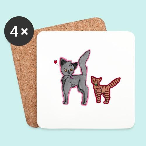 cat and kitten - Lasinalustat (4 kpl:n setti)