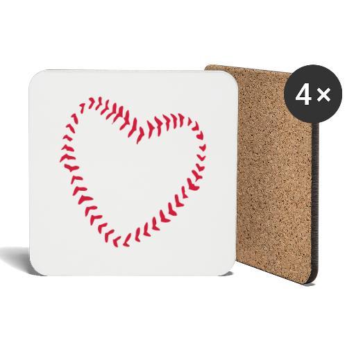 2581172 1029128891 Baseball Heart Of Seams - Coasters (set of 4)
