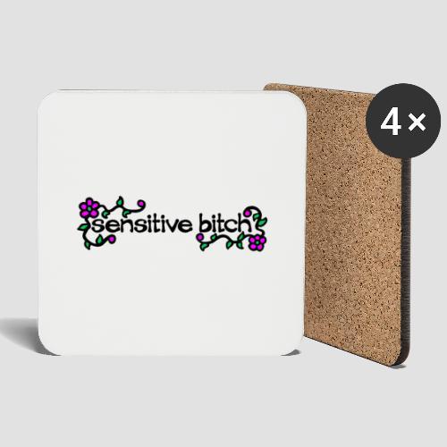Sensitive Bitch (black) - Coasters (set of 4)