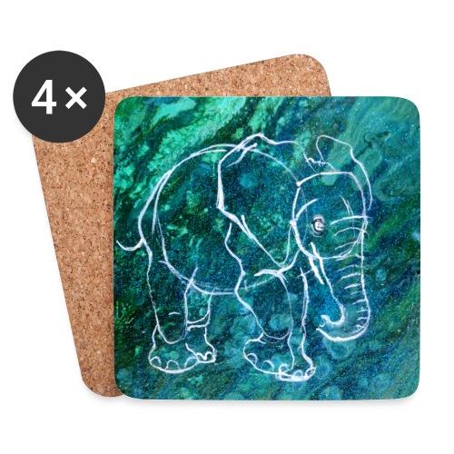 Elefant Pouring LineArt - Untersetzer (4er-Set)
