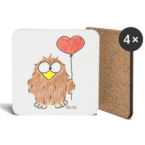 Niki Owl Amor/Love - Coasters (set of 4)
