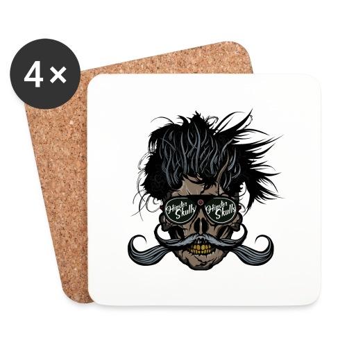 hipster skull tete de mort crane barbu moustache - Dessous de verre (lot de 4)