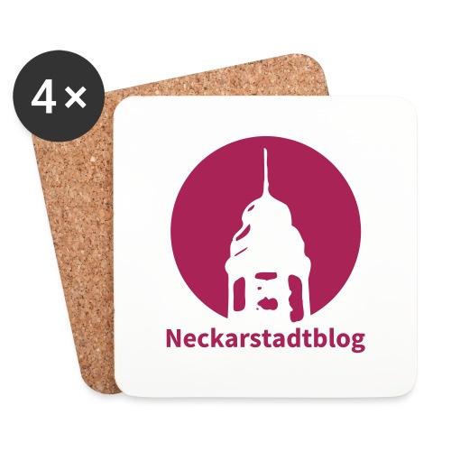 Logo mit Schriftzug inv. (Alternative Farben) - Untersetzer (4er-Set)