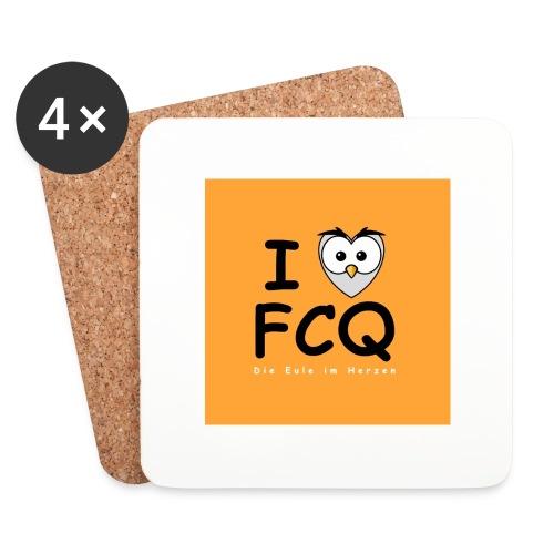 I Love FCQ button orange - Untersetzer (4er-Set)