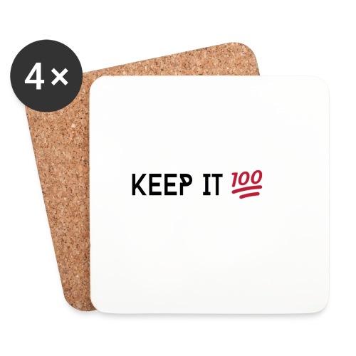 KEEP IT 100 ZWART png - Onderzetters (4 stuks)
