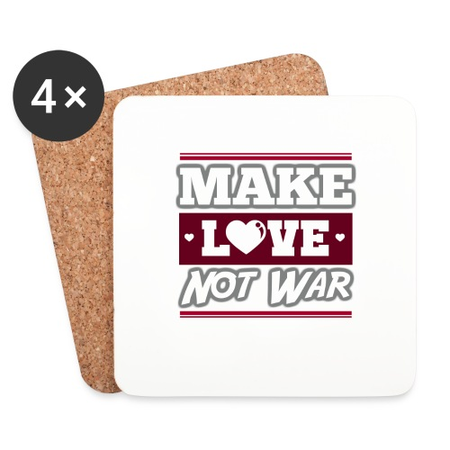 Make_love_not_war by Lattapon - Glasbrikker (sæt med 4 stk.)