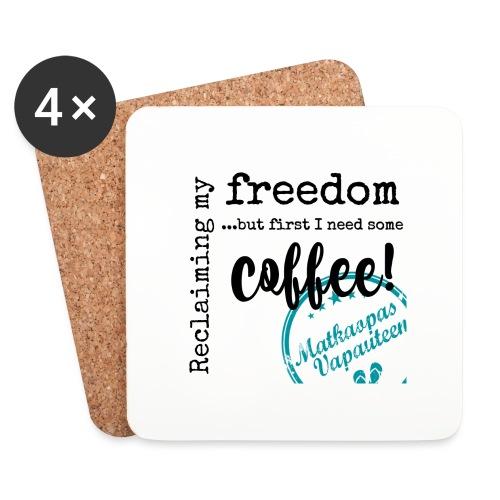 Kahvimuki Matkaopas Vapauteen, turkoosi - Lasinalustat (4 kpl:n setti)
