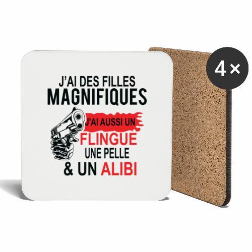 J'AI DEUX FILLES MAGNIFIQUES Best t-shirts 25% - Dessous de verre (lot de 4)