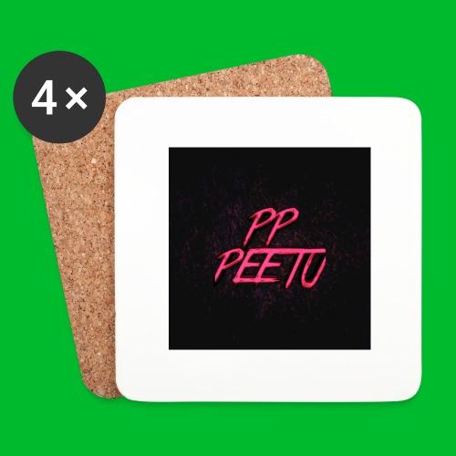 Ppppeetu logo - Lasinalustat (4 kpl:n setti)