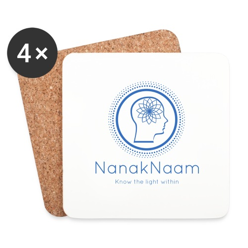 Nanak Naam Logo and Name - Blue - Coasters (set of 4)
