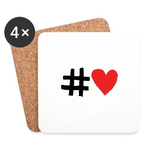 #Love - Glasbrikker (sæt med 4 stk.)