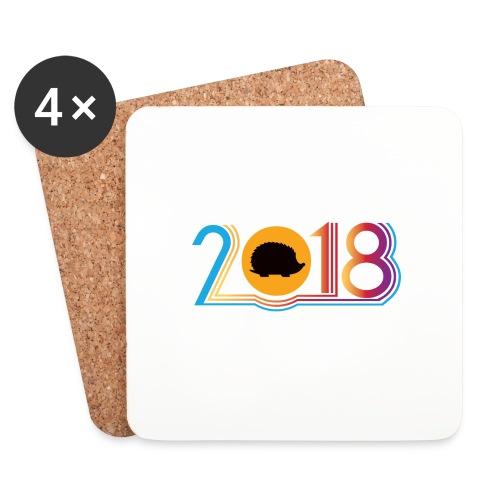 Frohes neues Jahr 2018 Igeldesign - Untersetzer (4er-Set)